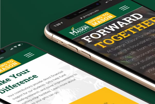 GMU Giving Website Mocked up in Mobile Devices